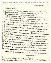 Lettre de Pierre Mac Orlan à André Malraux