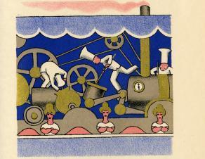 """L'industrialisation de la pâtisserie, imaginée par Lucien Boucher pour le livre """"Boutiques de la Foire"""" de Pierre Mac Orlan,"""