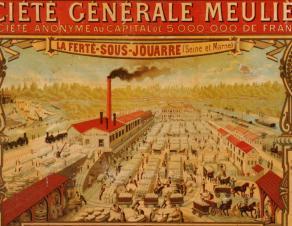 Détail d'un panneau publicitaire pour la Société Générale Meulière