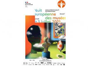 Affiche de l'édition 2021 de la Nuit des Musées, avec le logo du MDSM et les horaires de visite