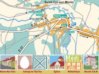 Plan de Saint-Cyr-sur-Morin, indiquant les lieux culturels de la commune