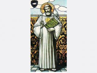 Reproduction d'un vitrail représentant le moine San Colombano