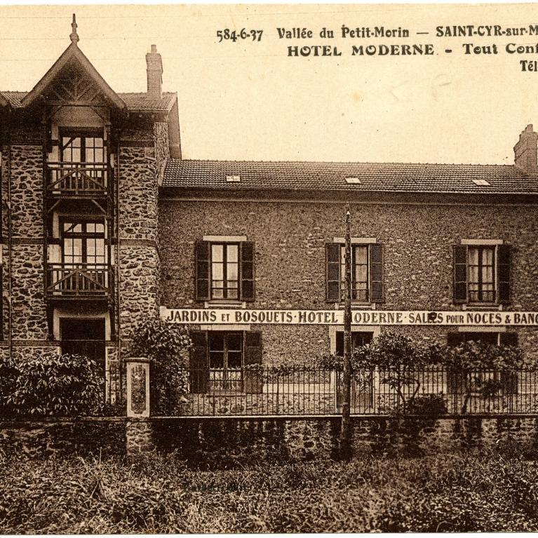 carte postale ancienne représentant l'Hôtel Moderne à Saint Cyr-sur-Morin